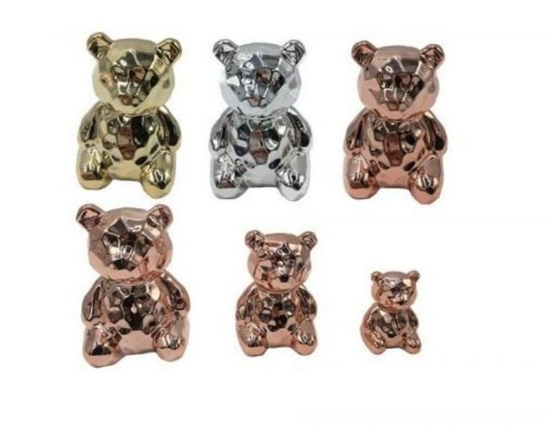 9119 ENFEITE URSO DECOR PORC 4,5X7X5,5CM - ROSE...